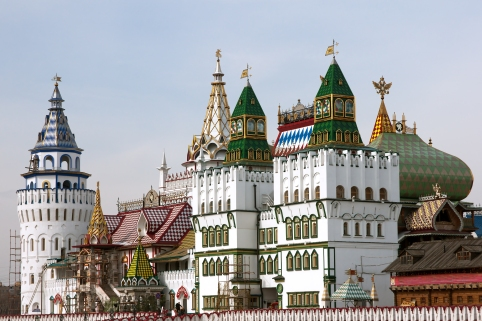 Decorated towers in Kremlin in Izmailovo, Moscow, Russia